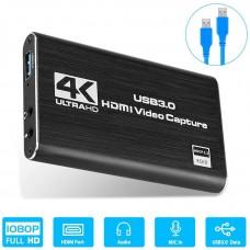 HDMI в USB 3.0 внешняя видео карта видеозахвата c микрофонным входом и выходом на наушники для ноутбука ПК, адаптер оцифровка запись ХДМІ в ЮСБ ( HDMI Video Capture USB3.0 AY02 )