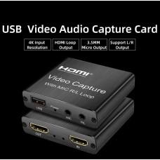 HDMI в USB 2.0 внешняя видео карта видеозахвата c микрофонным входом и выходом на наушники для ноутбука ПК, адаптер оцифровка запись ХДМІ в ЮСБ (HDMI Video Capture USB2.0 AY103_Mic / line)