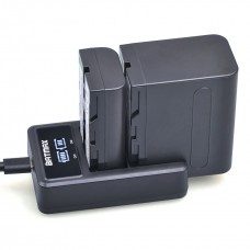 Для Sony NP-F550/750/960 - Двойное USB цифровое аккумуляторное зарядное устройство  с цифровым табло