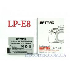 Batmax (Canon) LP-E8, 1800mA, Аккумуляторная батарея для цифровых фото-видеокамер Canon