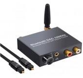 Аудио конвертер / декодер звука с цифрового digital оптического SPDIF Toslink Bluetooth в аналоговый 2.0 RCA тюльпаны стерео переходник 3.5 джек з Блютуз ( DAC062 )