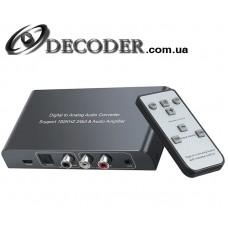 Цифро аналоговый преобразователь конвертер аудио декодер цифрового звука с пультом spdif optical toslink audio digital ЦАП CIRRUS LOGIC 8416 в 2.0 стерео AUX ( DAC067 )