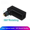 Переходник Toslink 90 градусов поворотный коннектор для оптического цифрового SPDIF аудио кабеля адаптер 360 вращающийся