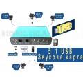 Внешняя 5.1 USB звуковая аудио карта на 6 каналов SPDIF оптика CM6206