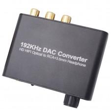 Конвертер - декодер звука с цифрового (ЦАП optical Toslink S/PDIF оптического в аналоговый  2.0 стерео L/R RCA 3.5mm Jack c регулятором громкости